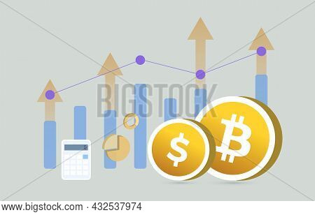 Bitcoin Btc And Usd Currency Money Business Concept. All Time High Cryptocurrency Revenue And Fiat C