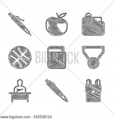 Set Book, Marker Pen, School Backpack, Medal, Schoolboy Sitting At Desk, Basketball Ball, Document F