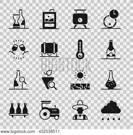 Set Cloud With Rain, Decanter For Wine, Champagne Bottle, Fermentation Of Grapes, Wooden Barrel, Win