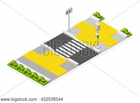 Isometric Accessible Environment Composition With Tactile Paving Near Crosswalk For Blind People 3d