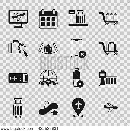 Set Plane, Airport Control Tower, Trolley Baggage, Scale With Suitcase, Conveyor Belt, Lost, And No