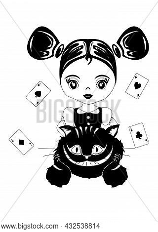 Childrens Illustration On The Theme Of The Fairy Tale Alice In Wonderland.