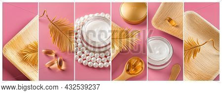 Collage Of Beauty Skin Care Cream In A Glass Jar, Few Essential Oil Capsules And Golden Yellow Dry C