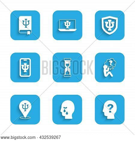 Set Old Hourglass, Man Graves Funeral Sorrow, Head With Question Mark, Psychology, Psi, Psychologist
