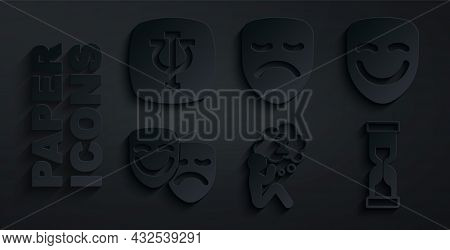 Set Man Graves Funeral Sorrow, Comedy Theatrical Mask, And Tragedy Masks, Old Hourglass, Drama And P
