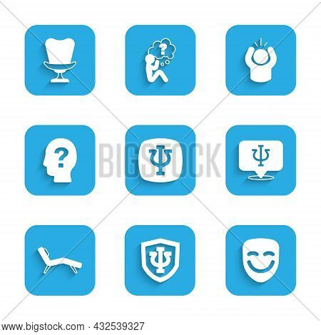 Set Psychology, Psi, Comedy Theatrical Mask, Armchair, Head With Question Mark, Anger And Icon. Vect