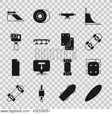 Set Longboard Or Skateboard, Knee Pads, Skateboard, Wheel, Stairs With Rail, Action Camera, Park And