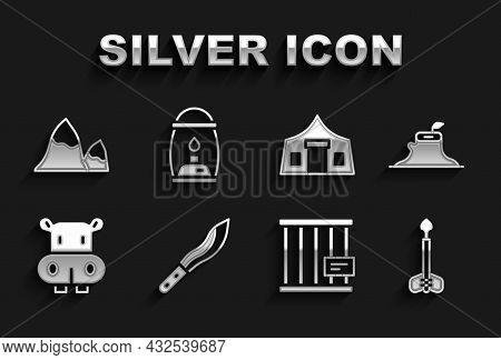 Set Machete, Tree Stump, Arrow, Animal Cage, Hippo Or Hippopotamus, Tourist Tent, Mountains And Camp