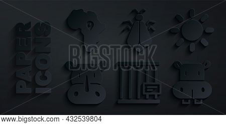 Set Animal Cage, Sun, Rhinoceros, Hippo Or Hippopotamus, Mosquito And Map Of Africa Icon. Vector