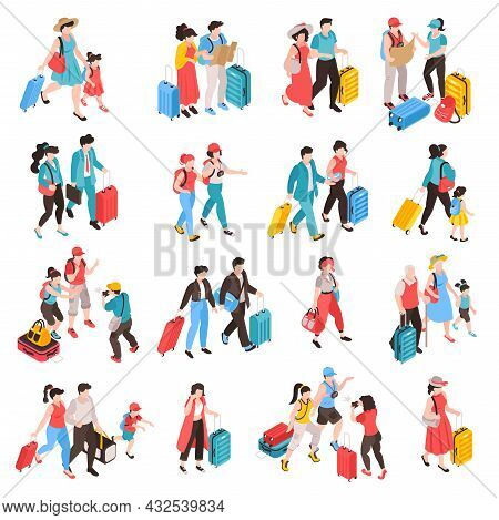 Isometric Travel People Set Of Isolated Icons With Human Characters Of Tourists Departing And Arrive