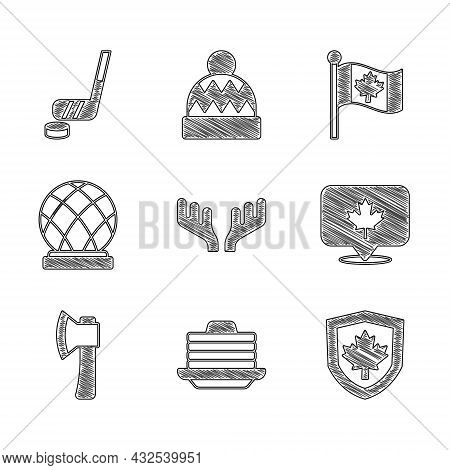 Set Deer Antlers, Stack Of Pancakes, Canada Flag On Shield, Canadian Maple Leaf, Wooden Axe, Montrea