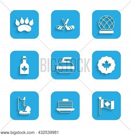 Set Stone For Curling, Stack Of Pancakes, Flag Canada, Canadian Maple Leaf, Skates, Bottle Syrup, Mo