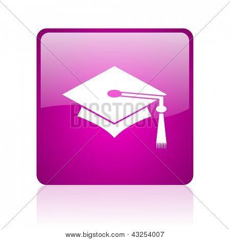 graduation violet square web glossy icon
