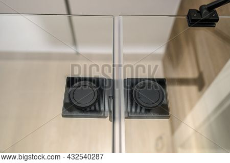 Black Matt Hinge Connecting The Wings Of The Shower Enclosure Flush With The Glass, View From Inside