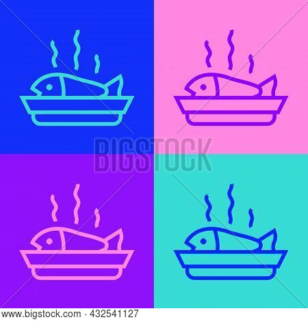 Pop Art Line Served Fish On A Plate Icon Isolated On Color Background. Vector