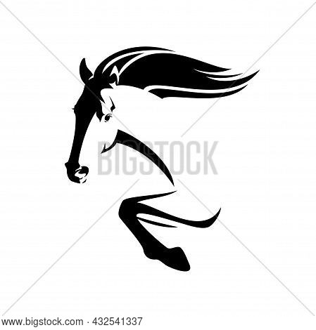 Beautiful Mustang Horse Jumping Forward - Speeding Stallion Side View Black And White Vector Head An