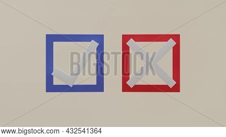 Right-wrong Approved-declined Yes-no Positive-negative Choice Selection Sign 3d Rendering Illustrati
