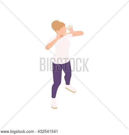 Party Surprise Isometric Icon With Woman Screaming Holding Her Hands Near Mouth Vector Illustration