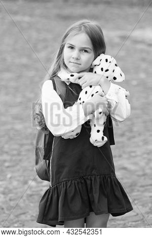 Adorable Small Kid Cuddle Cute Toy Dog Wearing School Uniform Backpack Outdoors, Afterschool