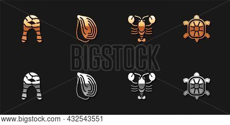 Set Fish Steak, Mussel, Lobster And Turtle Icon. Vector