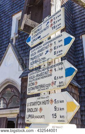 Kvilda, Czech Republic - September 20, 2020: Tourist Sign In Front Of The Church Of Kvilda, Czech Re