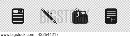 Set Dossier Folder, Pen, Document With Clip And Exam Paper Incorrect Answers Icon. Vector
