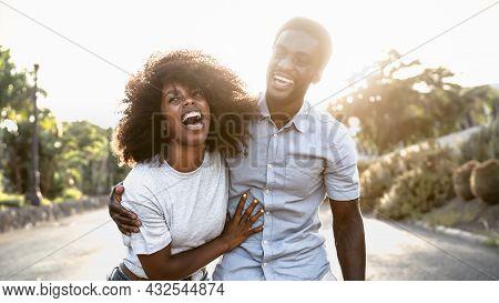 Happy African Couple Having Fun Dating Outdoor