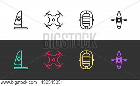 Set Line Windsurfing, Drone Flying, Rafting Boat And Kayak Or Canoe On Black And White. Vector