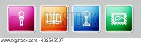 Set Line Joystick For Arcade Machine, Online Play Video, And Postal Stamp. Colorful Square Button. V