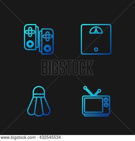 Set Line Retro Tv, Badminton Shuttlecock, Gamepad And Bathroom Scales. Gradient Color Icons. Vector