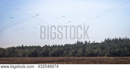 Ede, 20-sep-2019:the Dakota And Hercules Planes Are Approaching The Heathland For Dropping The Parat