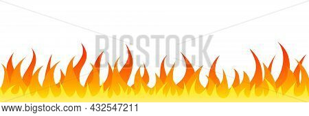 Fire Flame Symbol. Flat Gradient Fire Illustration. Burn Hot Inferno Concept. Vector Isolated On Whi