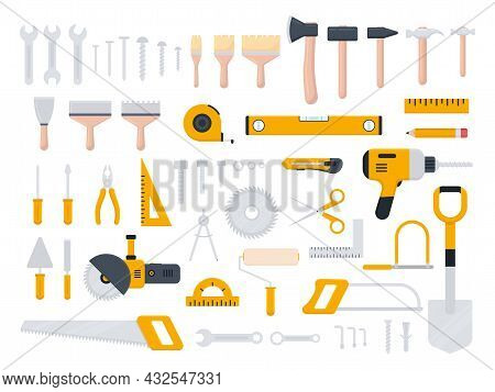 Tools Icon Large Set. Repair, Building And Work Instruments Big Collection In Flat Style. Scissors,