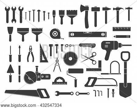 Construction Tools Icons Large Set. Repair, Building And Work Instruments Big Collection. Black Silh