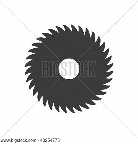Sawmill Icon. Saw Blade Black Silhouette. Milling Circular Cutter Symbol. Vector Isolated On White.