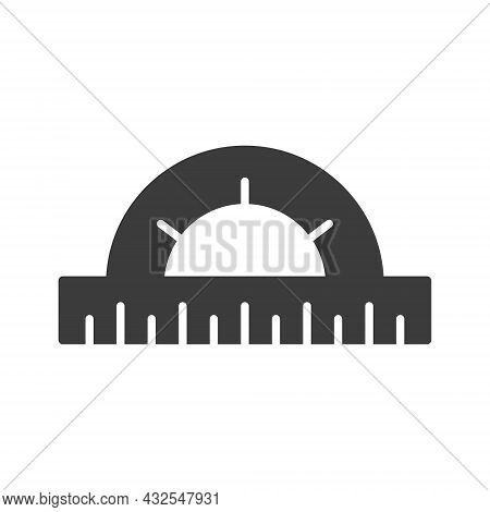 Protractor Icon. Education Circular Ruler Tool. Black Silhouette. Stationery Instrument. Vector Isol