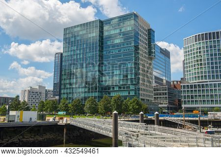 Boston, Usa - Sep. 5, 2018: Modern Residence Building Near Institute Of Contemporary Art Ica At Seap