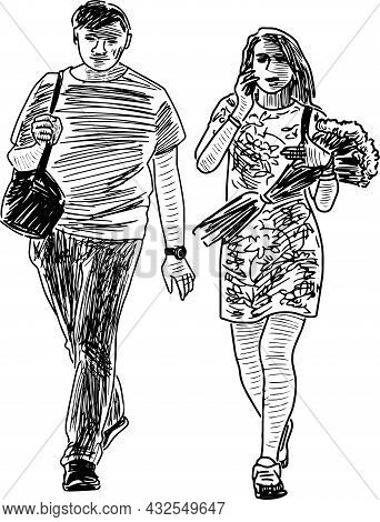 Sketch Of Couple Young Citizens Strolling In Date