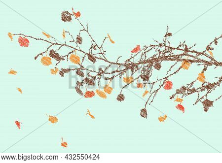 Scribble Drawing Of Abstract Deciduous Tree Branch With Autumn Falling Leaves