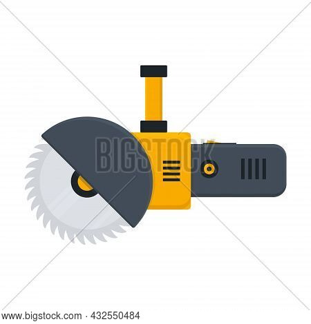 Electric Circular Saw Icon. Bulgarian Built Black And Orange Work Tool. Simple Angle Grinder With Di