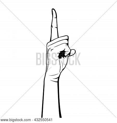Human Body. Body Part. Human Hands. Female Hands. Woman Hands. Lifting Finger.