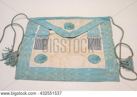 Decades Old Masonic Apron On White Background.