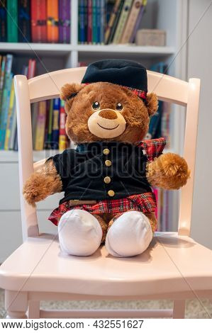 Calgary, Alberta - July 29, 2021: A Sctottish Themed Build A Bear In A Child's Room.