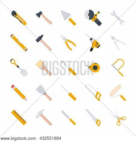 Tools Icon Set. Repair, Building And Work Instruments Big Collection. Flat Style. Vector Isolated On
