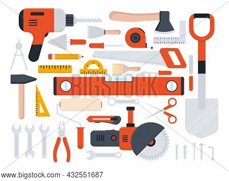 Tools Icon Large Set. Repair, Building And Work Red Instruments Big Collection In Flat Style. Vector