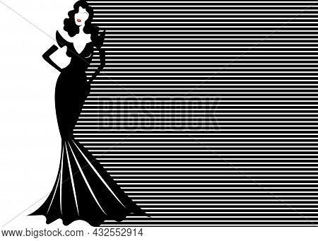 Fashion Model In Black And White Striped Background, Woman In Glamour Long Black Dress Vogue Style.
