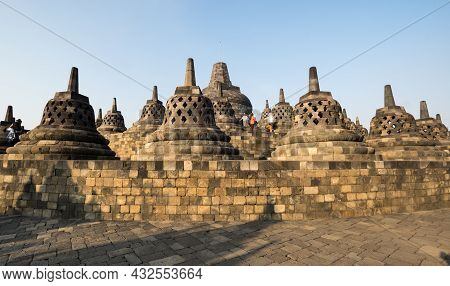 Borobudur, Or Barabudur Is A 9th-century Mahayana Buddhist Temple In Central Java, Indonesia. It Is