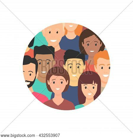 Diverse People Standing Together In Round Shape. Concept Of Diversity Men And Women. Human Social Di