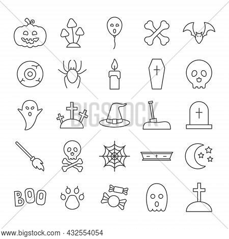 Halloween Line Icon Set. Helloween Party Linear Concept. Vector Isolated On White