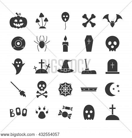 Set Of Halloween Icons. Black Silhouettes Helloween Elements Collection. Vector Isolated On White